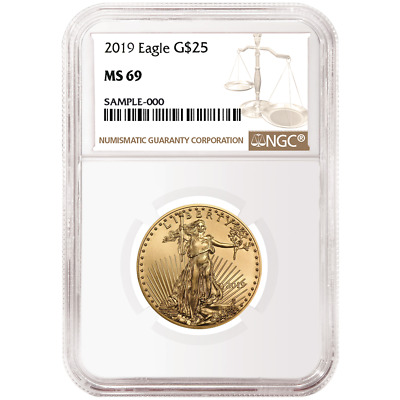 2019 $25 American Gold Eagle 1/2 oz. NGC MS69 Brown Label