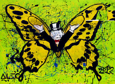 Alec Monopoly Oil Painting on Canvas Graffiti art wall decor Butterfly 28x40""