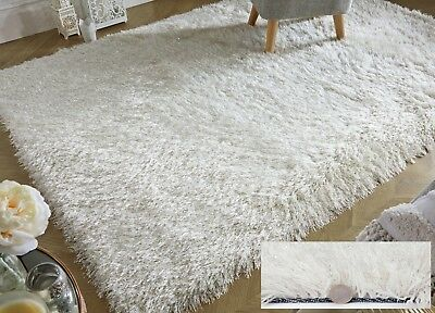 Dazzle Sparkle Sparkly Ivory White Silky Thick Long Pile Glitter Shaggy Rug