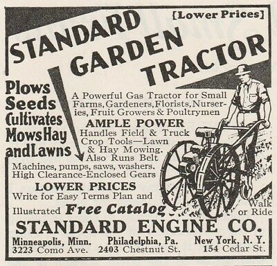 Old 1933 ad~ STANDARD GARDEN TRACTOR, Standard Engine Co.~ Gardener Fruit Farms