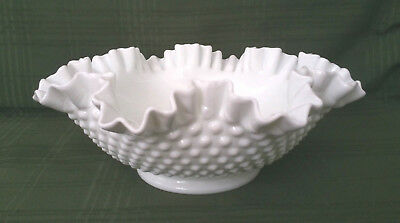 "Vintage Fenton White Milk Glass Hobnail 11 1/2"" Ruffled Edge Bowl"