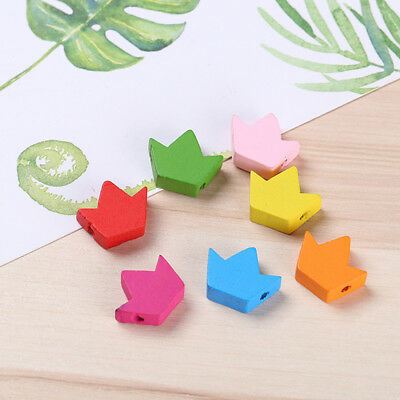 DIY Wooden Colorful Maple Leaf Star Heart-shaped Loose Beads Accessories LD