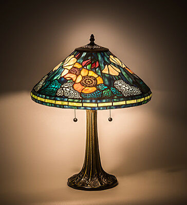 "Meyda Lighting Table Desk Lamp w Hand Crafted Stained Art Glass Decor 21.5""H"