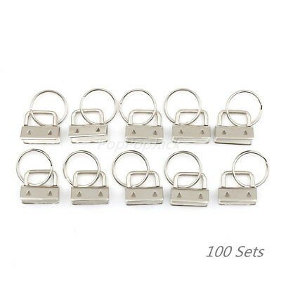 Lot 100 sets 1 inch key fob hardware with Split Ring - U.S. free shipping