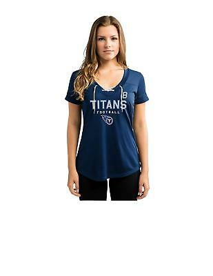NFL Tennessee Titans Marcus Mariota #8 Women's V-Neck Synthetic Lace Up Top