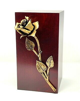 Exclusive Cremation Urn Ashes Adults Large Memorial Wooden Ashes with Rose