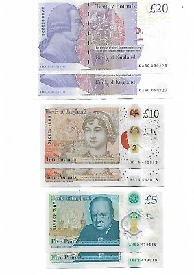 Set of English banknotes - UK/BRITISH POUND NOTES - uncirculated mint condition