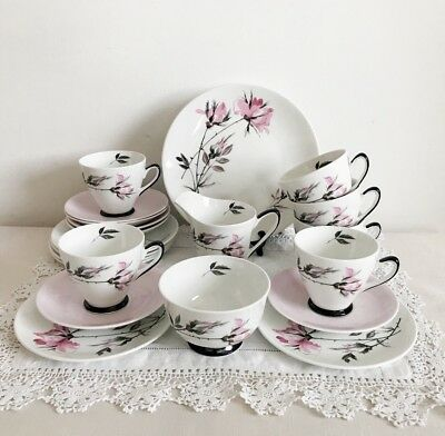Vintage Tea Set White Teacups And Saucers Pink Flowers Roses Bone China
