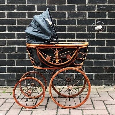Antique Victorian Wicker wood Dolls Buggy Pram doll stroller doll carriage