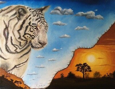 Original Oil Painting Canvas Wall Art Contemporary Tiger Africa Animal Landscape