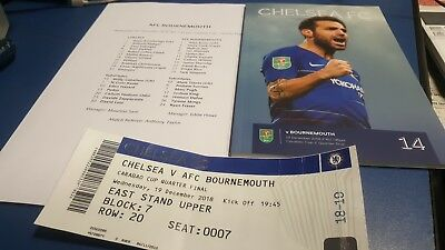 Chelsea v Bournemouth 2018  Programme, Teamsheet And Ticket Carabao Cup