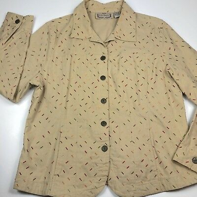 Life Style Beige Jacket Embroidered Sprinkle Design Womens Large 100% Cotton
