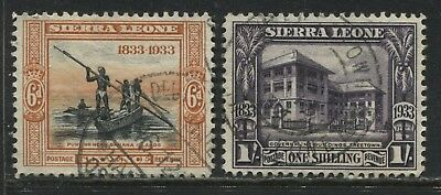 Sierra Leone KGV 1933 Wilberforce 6d and 1/ used
