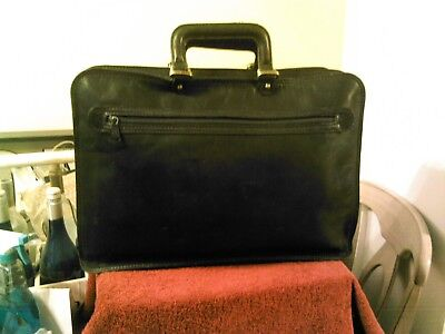 Vintage The Bridge Black Leather Briefcase Laptop Attache Bag Made In Italy