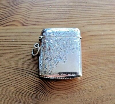 Solid 9ct Gold Vesta Case 1908 - W H Tandy & Sons