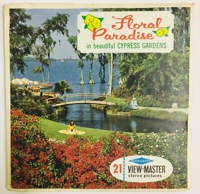 Beautiful Cypress Gardens Florida ViewMaster Vintage 3 Reel Set Floral Paradise