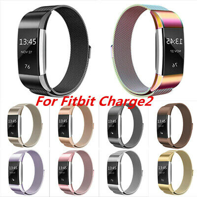 For Fitbit Charge 2 Wristband Metal Stainless Milanese Magnetic Loop Strap Band