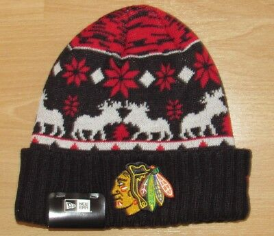 Chicago Blackhawks New Era Mooser Cuffed Winter Knit Hat Cap size Men's