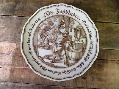 """Hutschenreuther 1814 Germany Collector 8"""" Plate Exclusiv Fur Pieroth Barrel"""