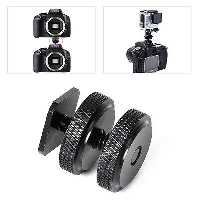 Portable 1/4 Inch Dual Nuts Tripod Mount Screw to Flash Camera Hot Shoe Adapter