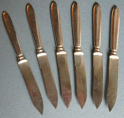 ANTIQUE SET of 6 PAIRPOINT SILVER PLATE FRUIT KNIVES ORIGINAL CASE 1880