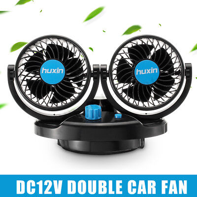 12V Car Cooling Fan 360°  Rotating Dual Head Adjustable Speed Car Fan Air Cooler