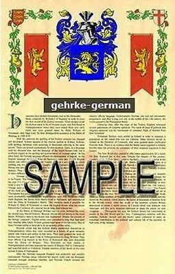 GEHRKE Armorial Name History - Coat of Arms - Family Crest GIFT! 11x17