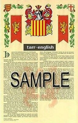 TARR Armorial Name History - Coat of Arms - Family Crest GIFT! 11x17