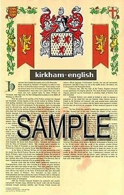 KIRKHAM Armorial Name History - Coat of Arms - Family Crest GIFT! 11x17