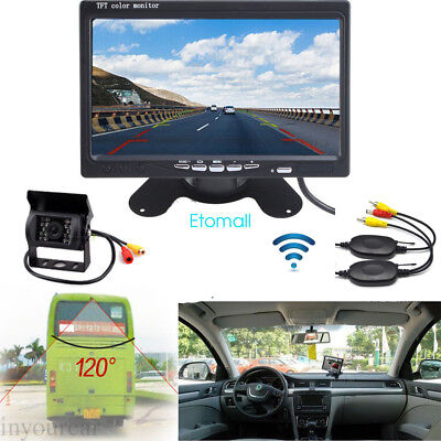 "Wireless LED Night Vision Rear Backup Camera System+7"" Monitor For RV Bus Truck"