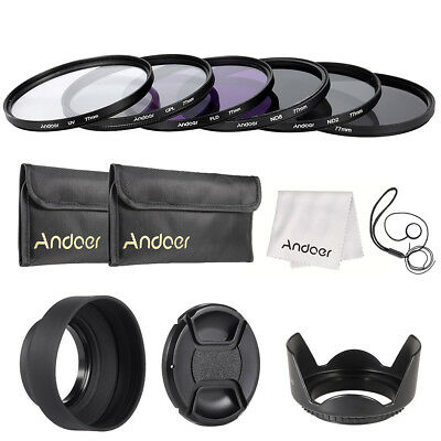 Andoer 77mm Lens Filter Kit UV+CPL+FLD+ND(ND2 ND4 ND8) with Carry Pouch / E0E6