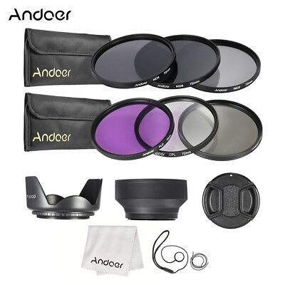 Andoer 72mm Lens Filter Kit UV+CPL+FLD+ND(ND2 ND4 ND8) with Carry Pouch / Q4U9