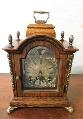 oak cased wuba ting tang bracket clock