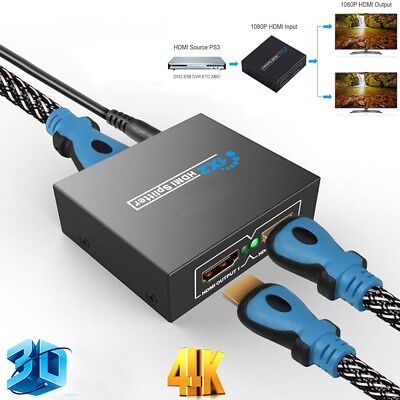 Black Full HD HDMI Splitter Repeater Amplifier 3D 1080p 4K Switch Box 1 in 2 out