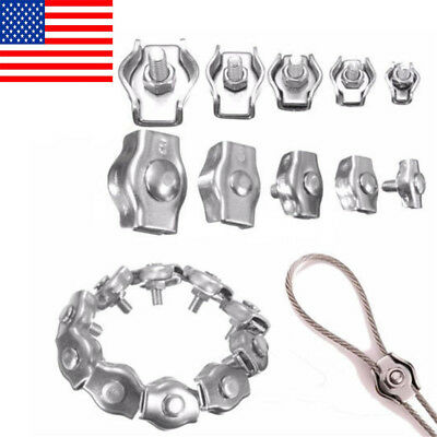 10Pcs Stainless Steel Wire Rope Simple Clip Grips Cable Clamps Caliper 2/4/6/ US