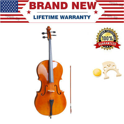 US Wooden Cello 4 String With Bag Bow and Rosin Full Size 4/4 Beginner Xmas Gift