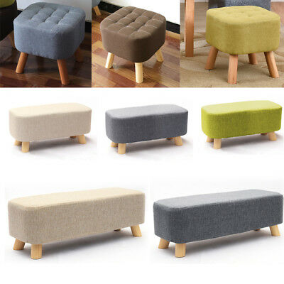 Fabric Padded Top Ottoman Foot Rest Stool Bedroom Living Room Pouffe Sofa Stools
