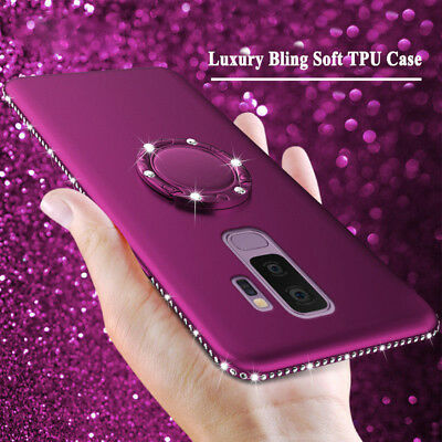 For Samsung Galaxy S9 Plus Bling Cute Phone Case For Girls With Ring Kickstand