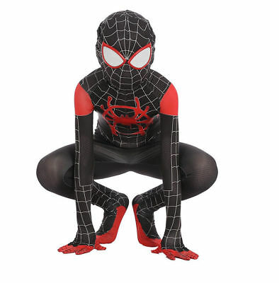 Spider Man Into the Spider Verse Costume Kids Miles Morales Cosplay Fancy Dress
