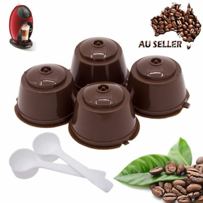 2-4Pcs Dolce Gusto Refillable Reusable Coffee Capsule Pod Cup With Coffee Spoon