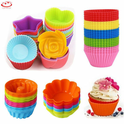 12Pcs Silicone Round Cup Cake Muffin Cupcake Bakeware Cases Baking Moulds Tool