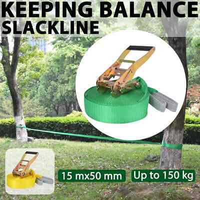 vidaXL Slackline 15mx50mm 150kg Balance Training Rope Fitness Green/Yellow