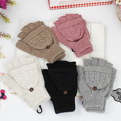 Fashion Unisex Womens Mens Knitted Fingerless Gloves Wool Winter Warm Mittens