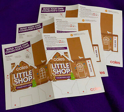 3 X Official Coles Little Shop Christmas Cases ~A3 Diy Fold-Up Versions Freepost
