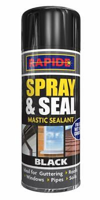 2x Rapide Mastic Instant Leak Stop Spray N Seal Roofs Gutters Pipes Black 200ml