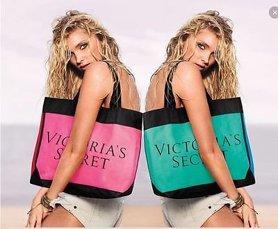 78 Victoria s Secret LE Color block Tote Shopper Beach Gym Teal Blue Bag  NICE db4126df93