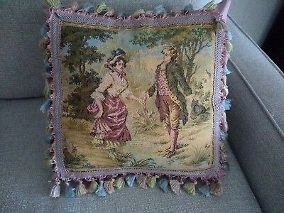 Vintage French Tapestry Pillow COVER ON PINK BROCADE 16""