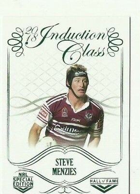 2018 Nrl GLORY INDUCTION CLASS STEVE MENZIES CC104 MANLY CARD HALL OF FAME