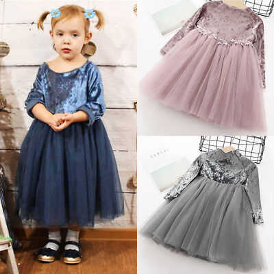 Toddler Baby Girl Kids Dresses Clothes Long Sleeve Children Princess Tulle Dress