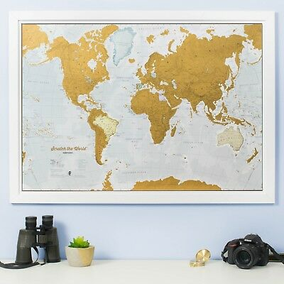 Map World Scratch Off Poster Travel Journal Wall Hanging Home Office Decor Gift